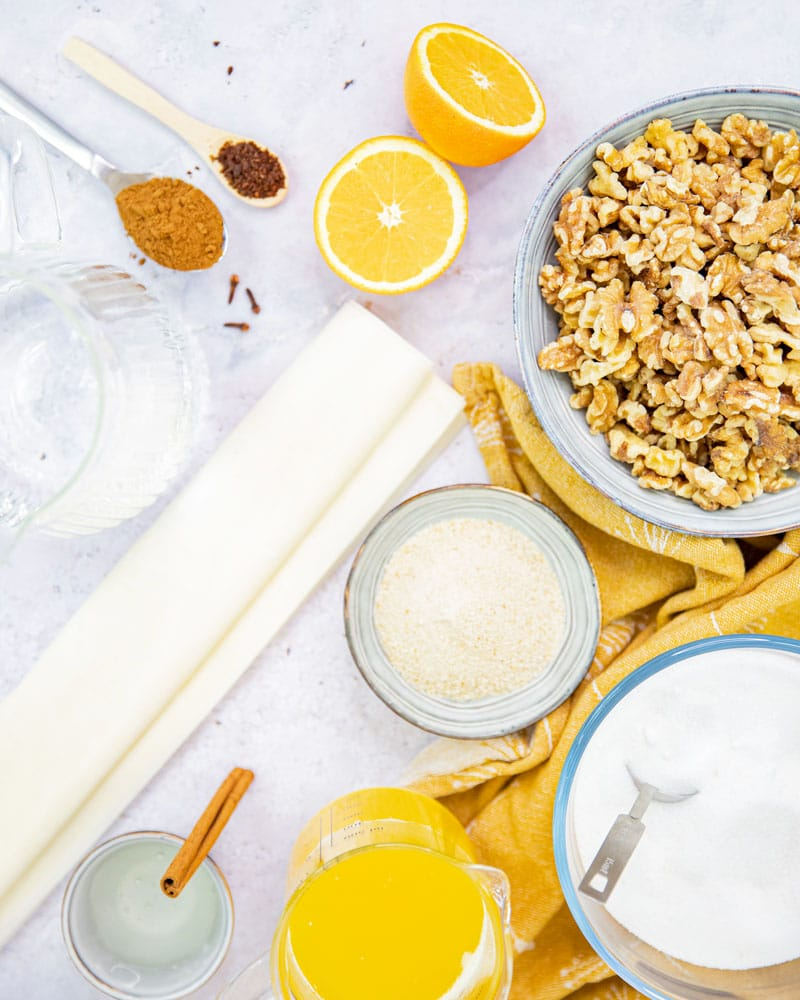 Ingrédients pour le baklava