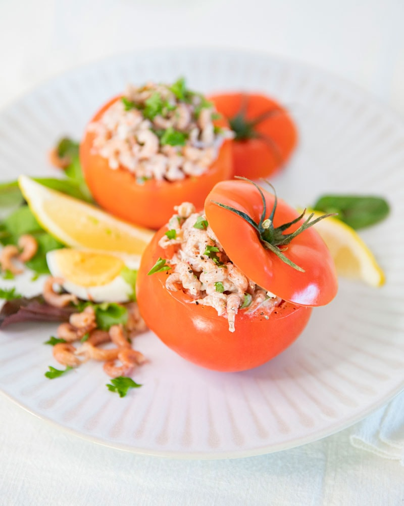 Assiette de tomates crevettes